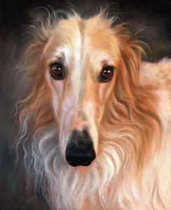 oil painting borzoi