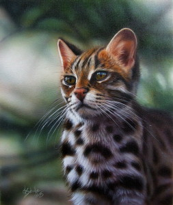 Leopard cat wildlife painting