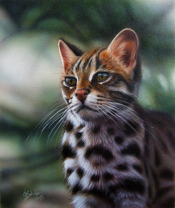 Leopard cat oil painting
