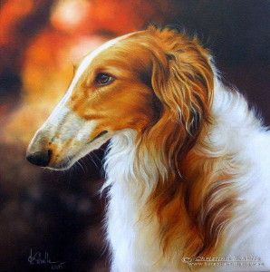 Borzoi oil painting