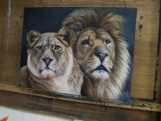 wildlife art Lions