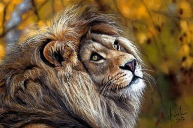 pastel painting Lion