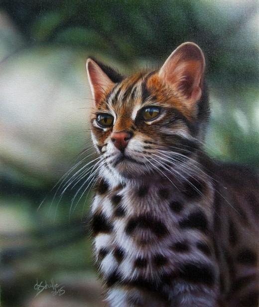 Leopard cat oil painting
