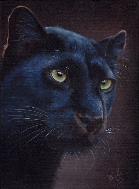 Black Leopard wildlife painting
