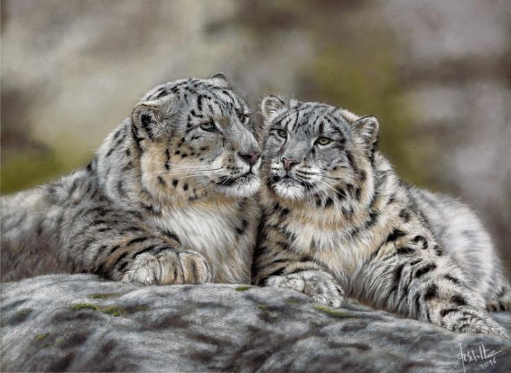 Wildlife painting Snow leopard