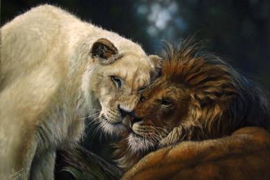 pastel portrait lion